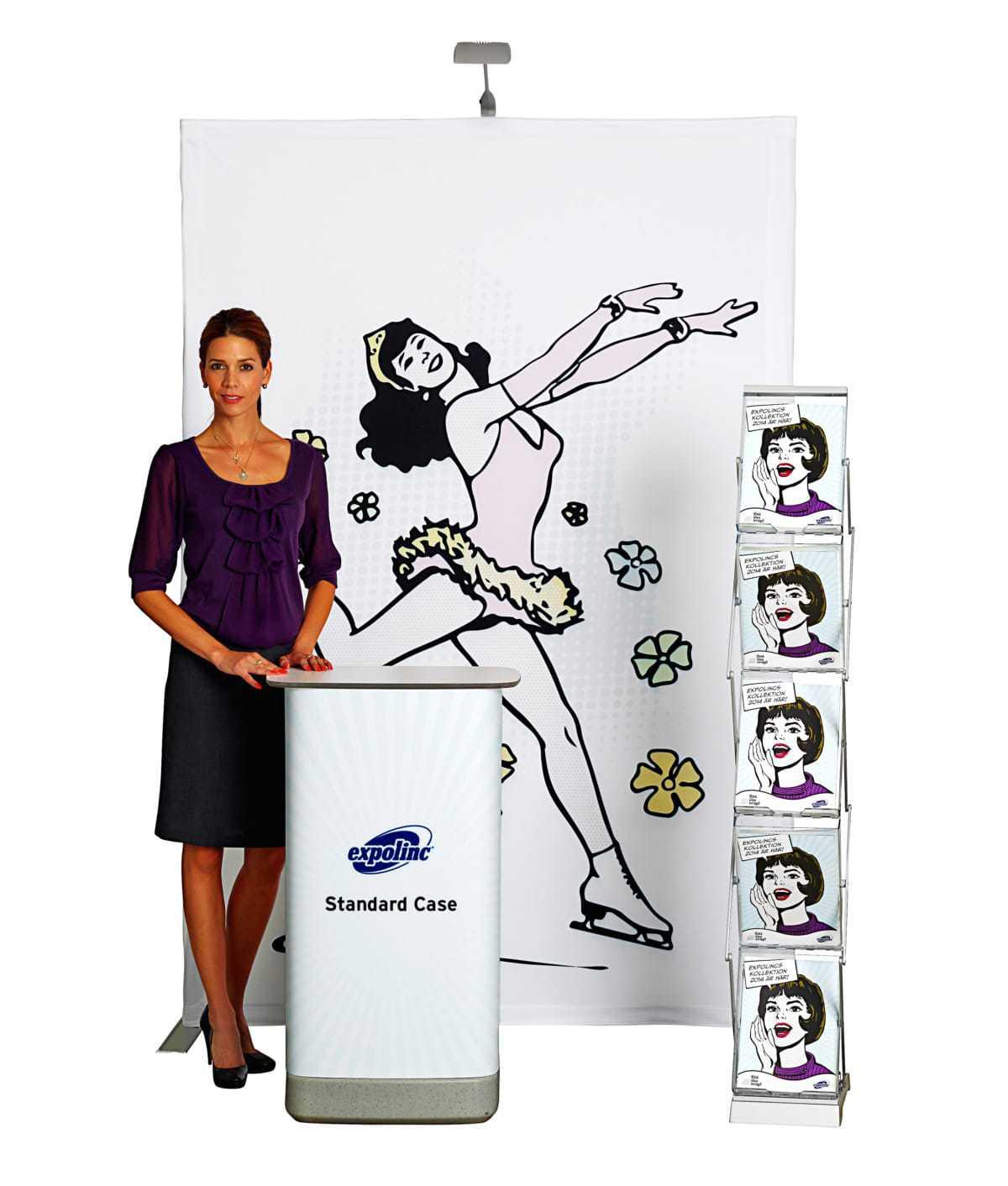 Fabric Pop up en Standard Counter Case en BrochureStand