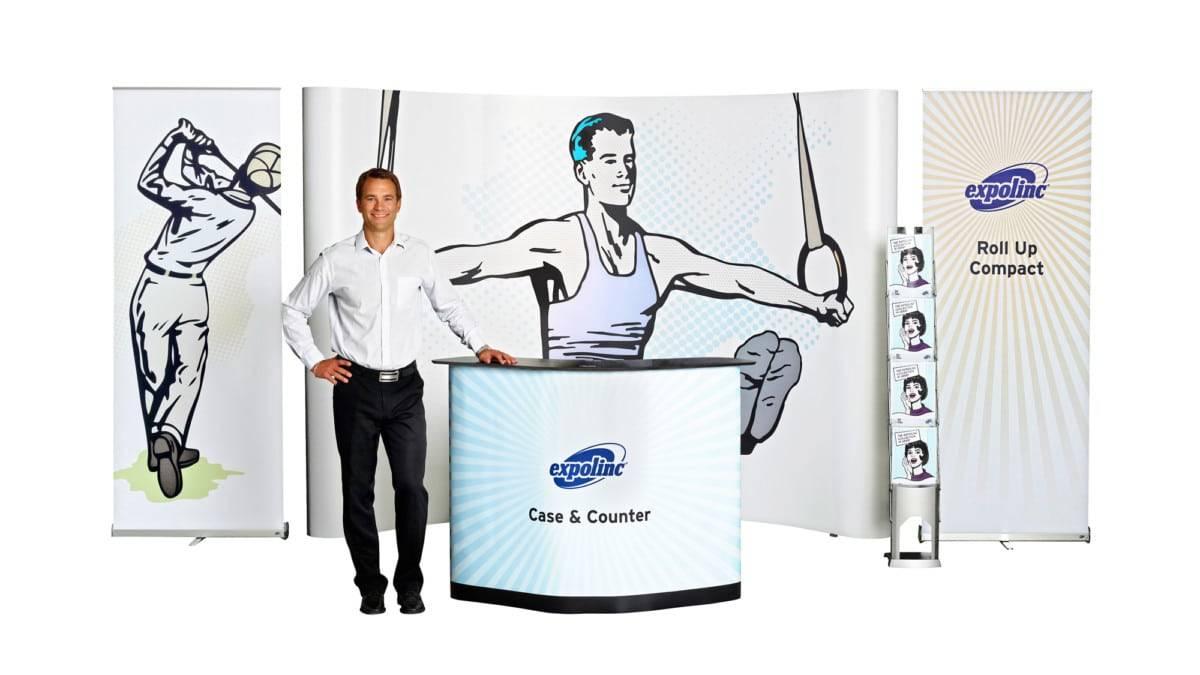 Pop up Magnetic gebogen met Case & Counter, Roll up Compact en BrochureStand