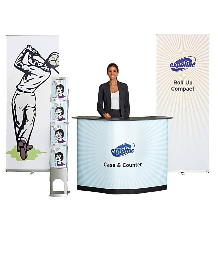Case & Counter, Roll up Compact en BrochureStand