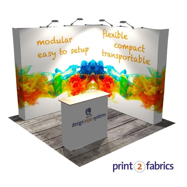 Beursstand Fusion Textiel Pop-up hoekopstelling